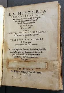 Title page of La Historia Generale delle Indie Occidentali (1556)