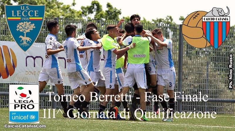 Sabato 20 maggio ore 15, Lecce-Catania, III giornata Girone di Qualificazione del Torneo D. Berretti