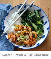 Korean Prawn Rice Bowl with Sesame Pak Choi