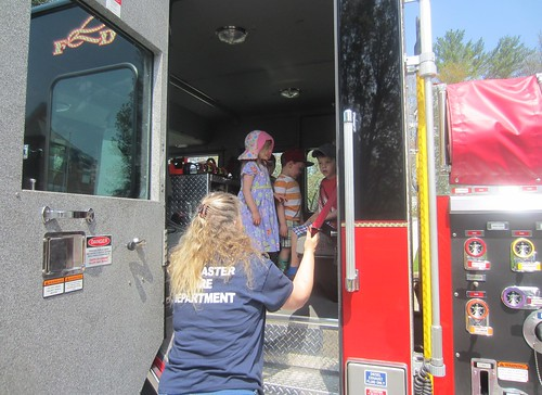 checking out the inside of the fire truck