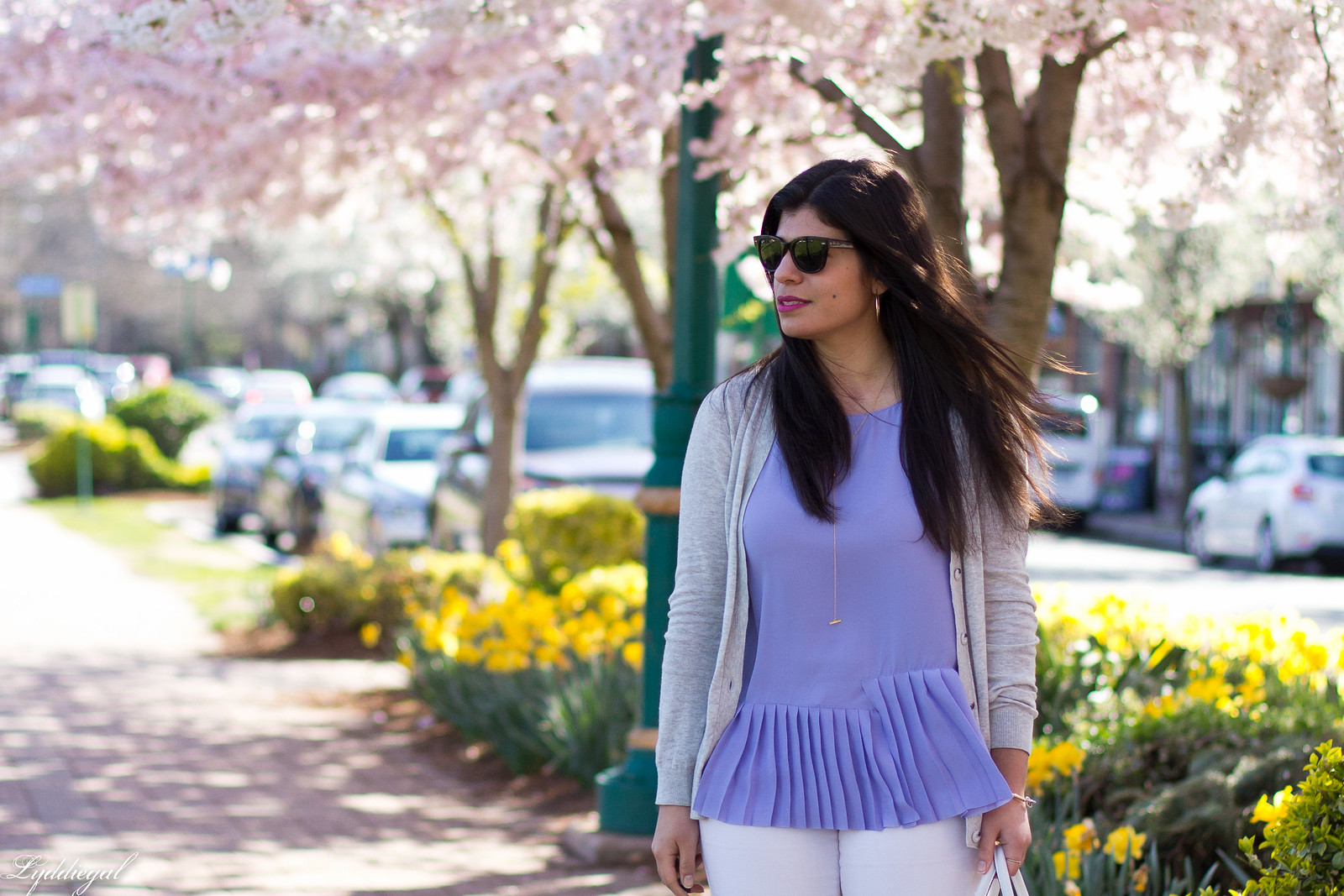 purple pleated top, white jeans, grey cardigan, spring outfit.jpg