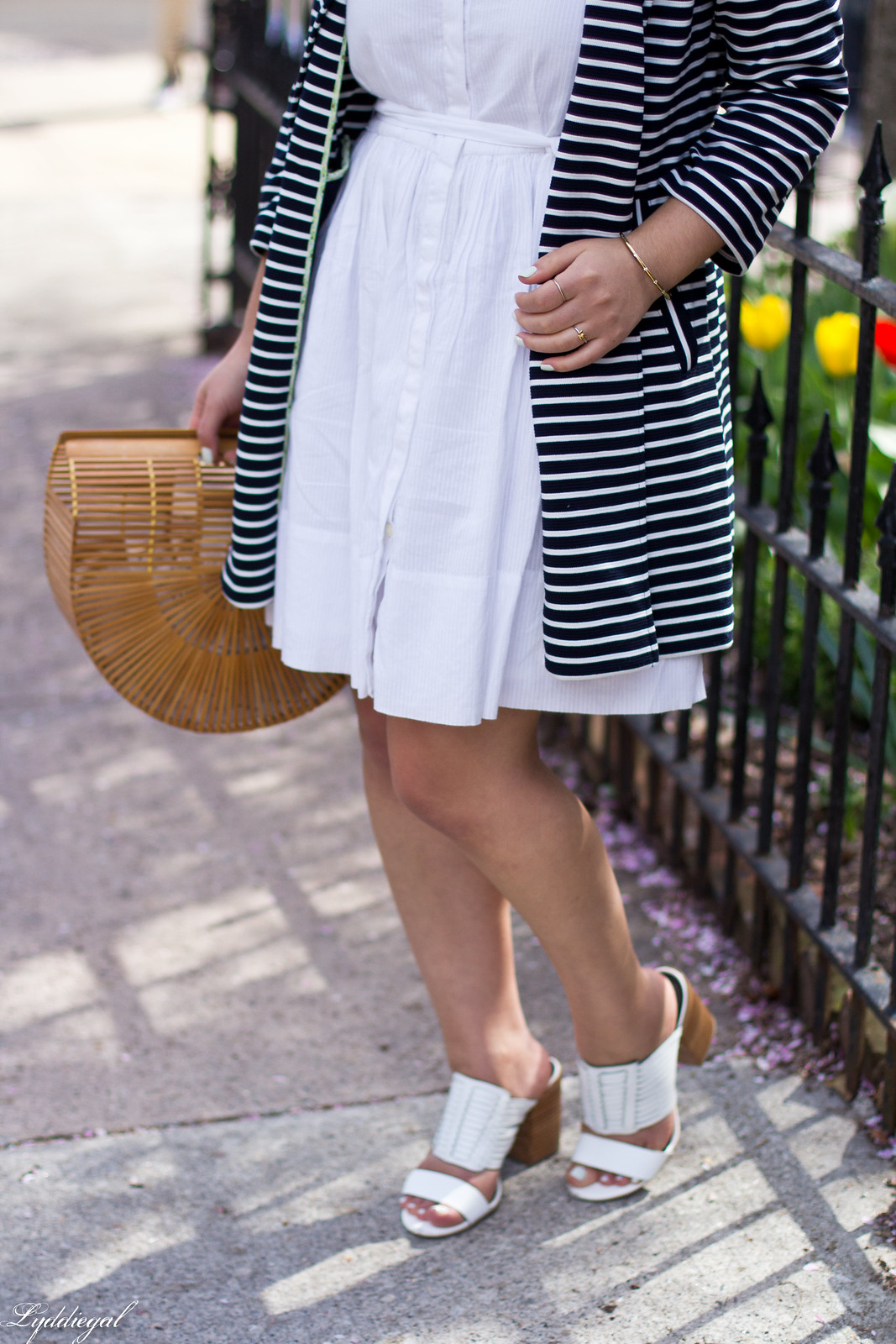 white dress, striped coat, white mules, straw hat-7.jpg
