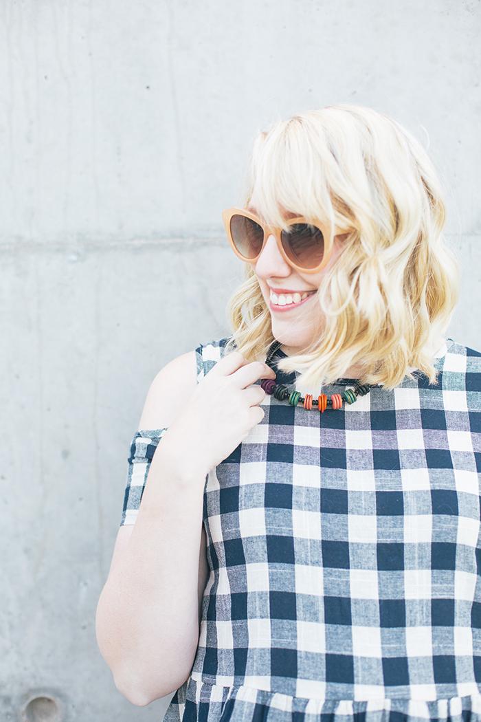austin fashion blogger writes like a girl asos cold shoulder gingham dress9