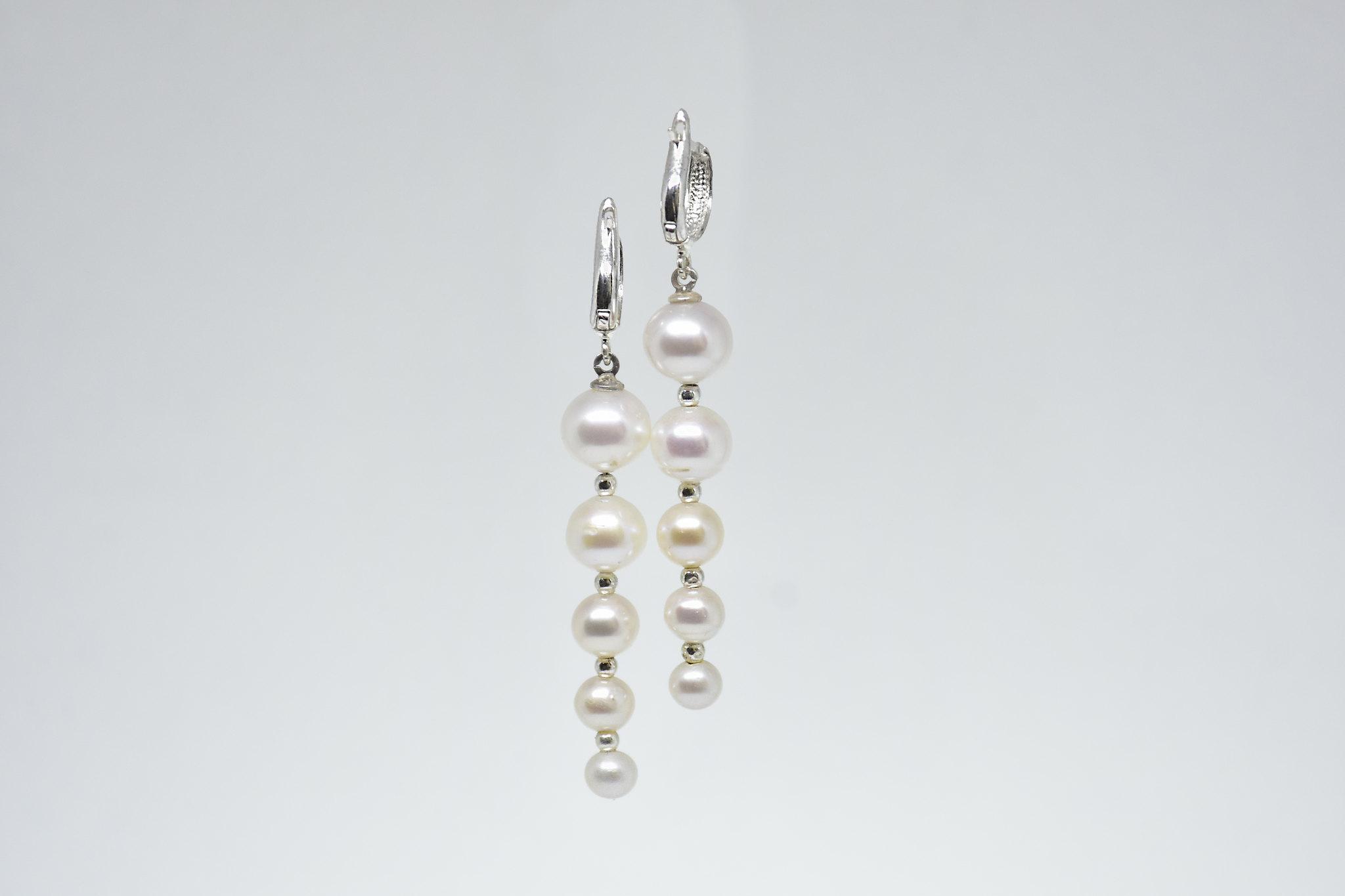 - Ahsen 925K Gümüş Sallantılı Doğal Beyaz İnci Küpe-AH-00045 (1)