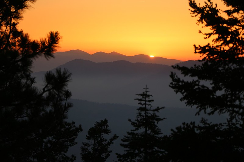 Sunset over Mount Baden-Powell from our campsite. That's 60 miles by crow but 130 miles away via the PCT