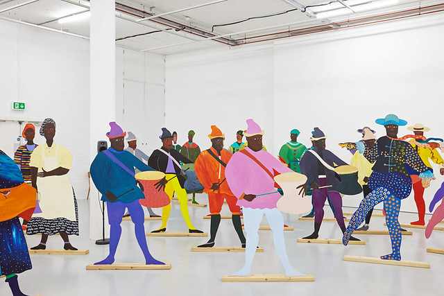 Lubaina Himid, 'Naming the Money' 2004. Installation view of 'Navigation Charts', Spike Island, Bristol, 2017. Courtesy of the artist, Hollybush Gardens, and National Museums, Liverpool. Photo: Stuart Whipps