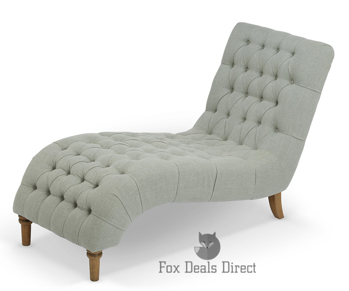 Inverness Chesterfield Style Fabric Chaise Lounge Chair In Grey ...