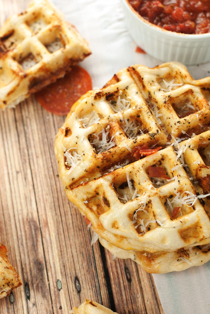 Easy and cheesy Pizza Waffle with ease