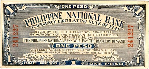 1941 One Peso Philippine National Bank Emergency Circulating Note front