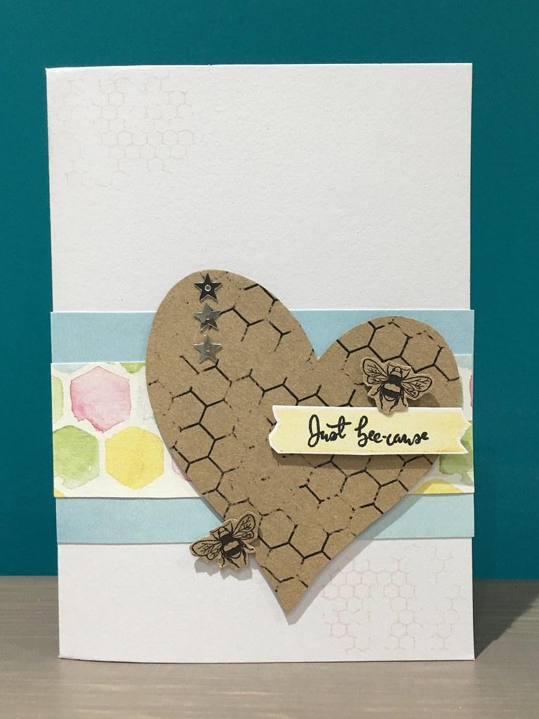 7 principles of card design - CAS StickerKitten Bee Garden heart card
