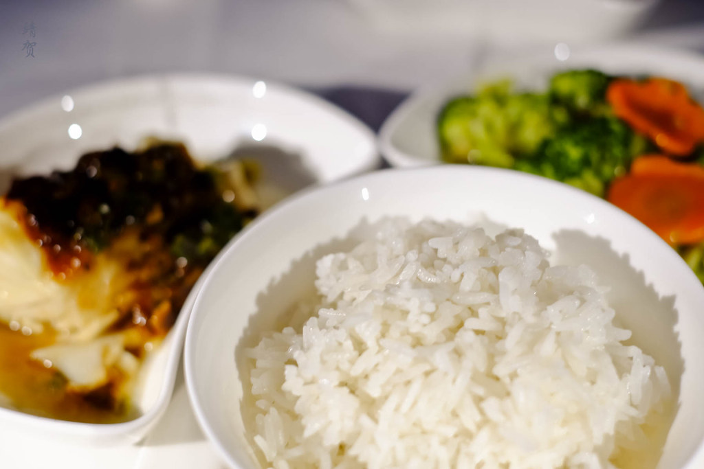 Steamed black cod, broccoli and rice