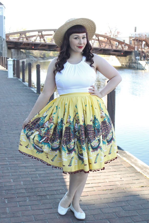 pinup girl italian landscape jenny skirt yellow