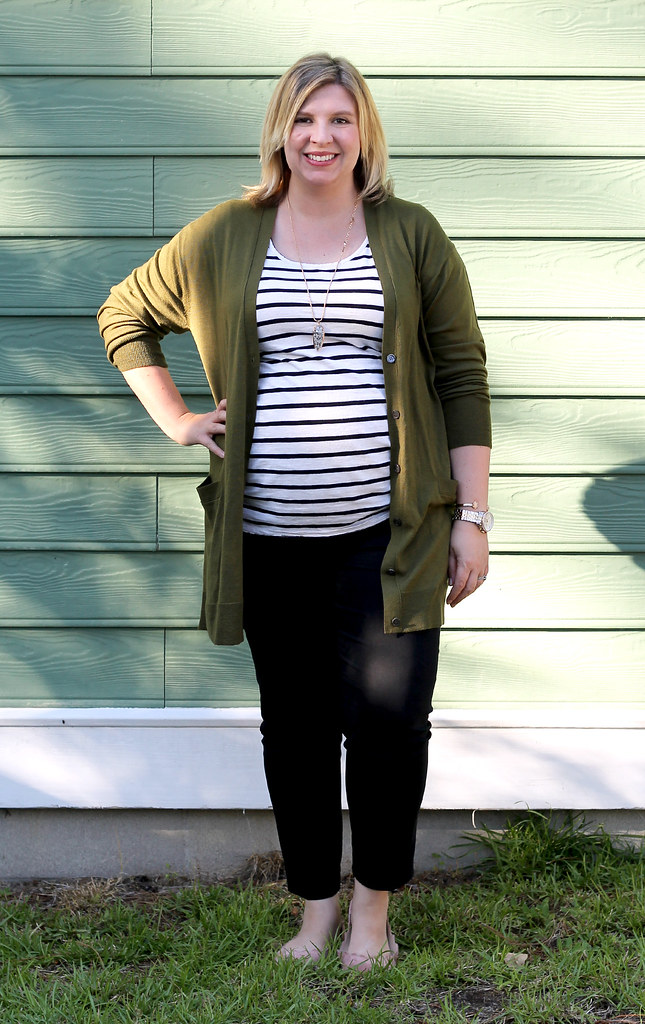 long olive cardigan, stripe tee, black pencil pants 6