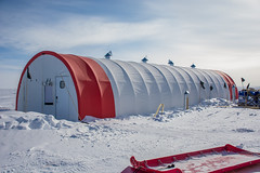 The tent that houses the drilling operation at South Pole