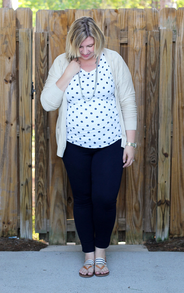 polka dot tee, navy maternity pencil pants, tan cardi 6