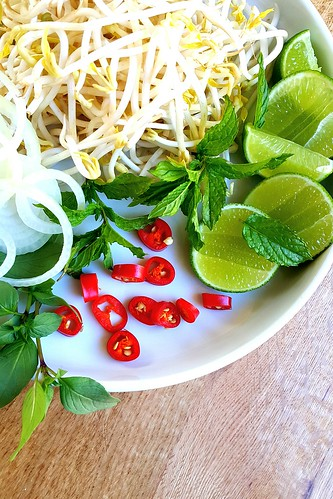 Vietnamese beef pho rice noodle broth #chilli #lime #mint #vietnamese | by michtsang