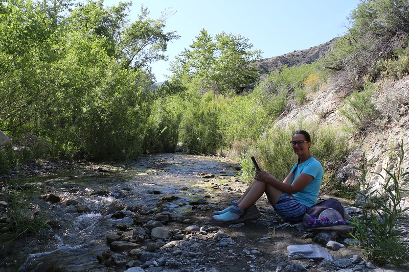 Taking a break in the shade down near the flowing water of the North Fork of Mission Creek