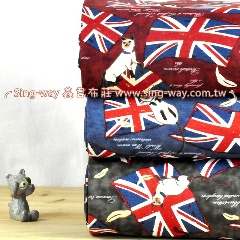 英國旗貓 (大特價) 英倫風 手工藝DIy拼布布料 CF550578