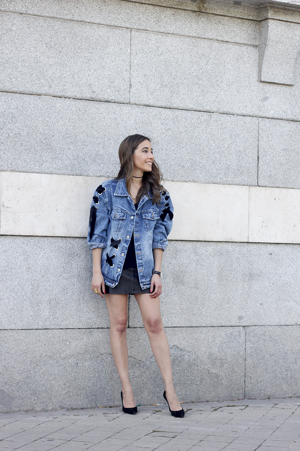 denim jacket leather skirt black heels outfit style fashion summer07
