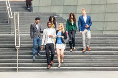 Business multiracial group walking in London