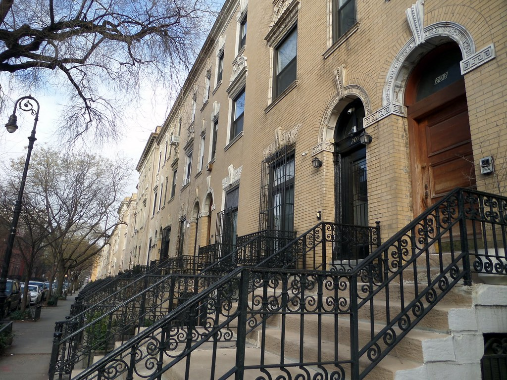 Typical brownstone houses in Harlem, New York City