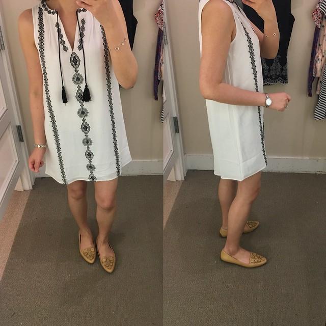 LOFT Split Neck Embroidered Swing Dress, size XXSP