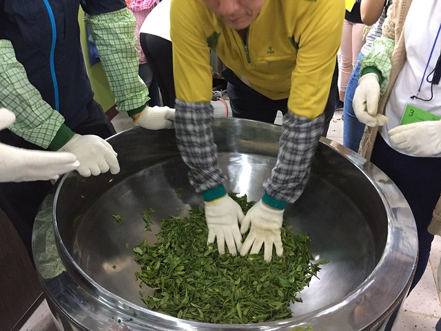 Heating the green tea leaves