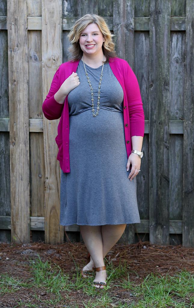 magenta cardigan, gray midi dress and sandals_7