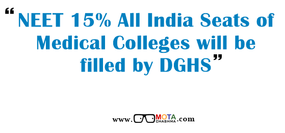 NEET 15% All India Seats are filled by DGHS