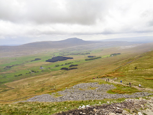 The descent path with Ingleborough visible beyond