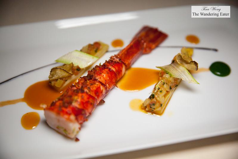 """Carabineiros prawns, crispy tomato, """"Pata Negra"""" prosciutto, white asparagus and pistou reduction"""