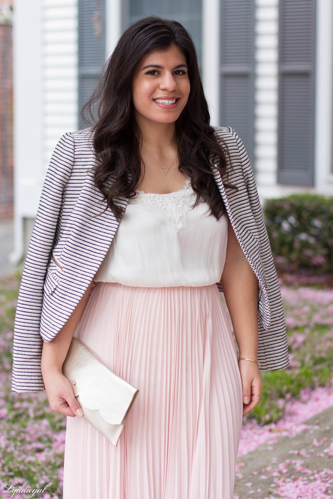 blush pleated maxi skirt, lace cami, striped blazer, scalloped clutch-6.jpg