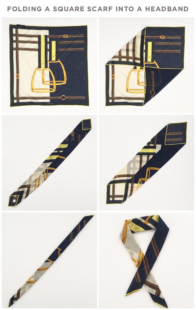 How to fold a square scarf bandana into a headband