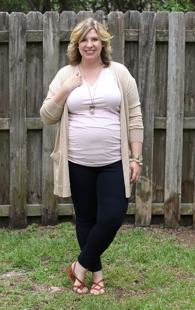 long tan cardigan, pink maternity tee and navy pixie pants_5