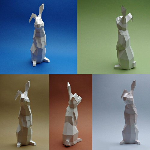 Low Poly Papercraft Rabbit Model Views by Paperwolf