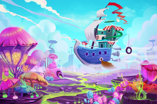 Illustration: Flying to a Mystery Wonderland. Realistic Fantastic Cartoon Style Artwork Scene, Wallpaper, Game Story Background, Card Design | by wallmistwallpaper