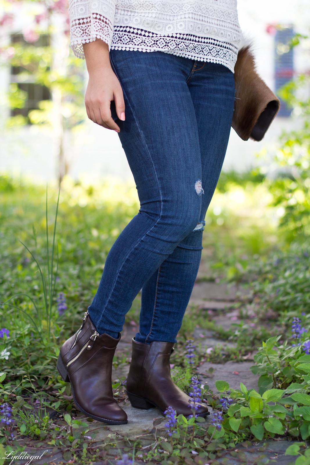 white boho top, jeans, brown booties, springbok clutch-7.jpg