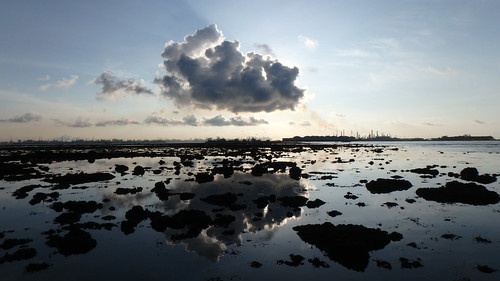 Emissions over petrochemical plants on Pulau Bukom