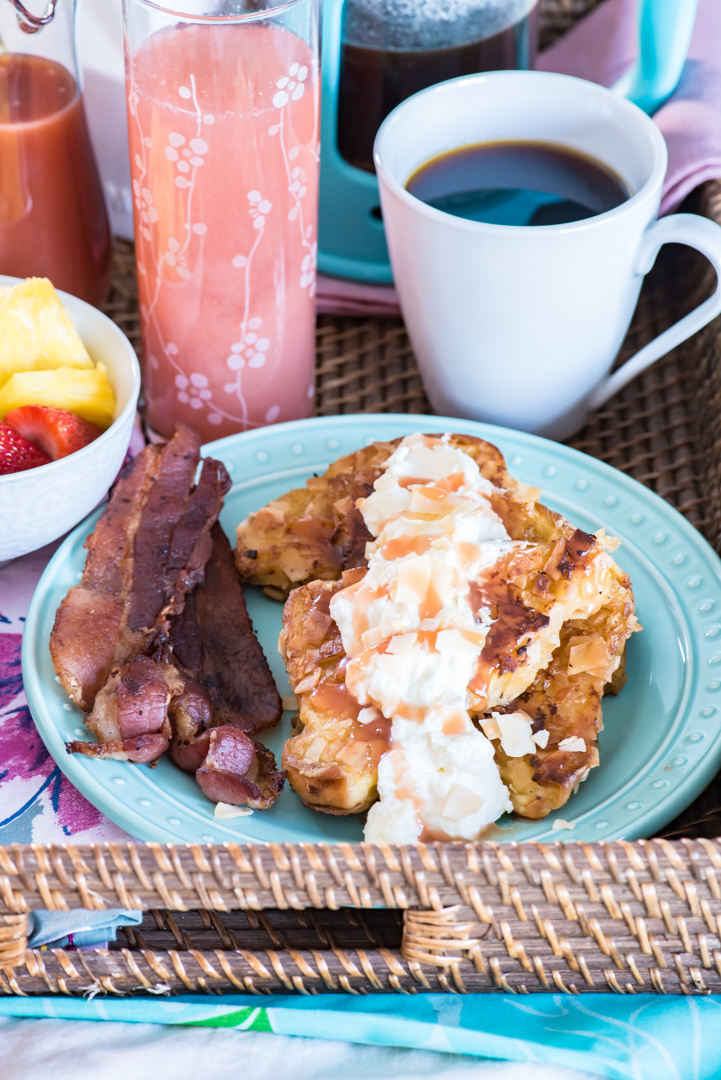 Mother's Day Breakfast in Bed - Coconut Brioche French Toast with Guava Syrup. And Guava-Rosé Mimosas www.pineappleandcoconut.com #AD #WorldMarketTribe oche French Toast-402