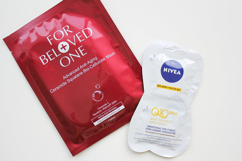 For Beloved One Advanced Anti-Aging Ceramide Squalane Bio-Cellulose Mask and Nivea Q10 Plus Anti-Aging Smoothing Treatment Mask review