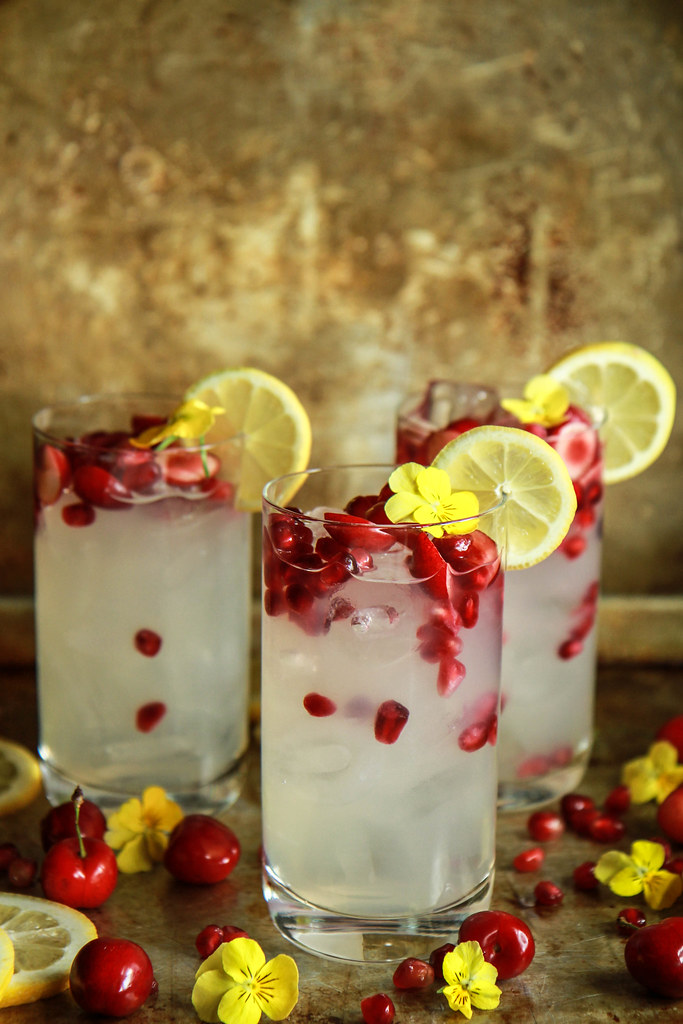 Chery Pomegranate Ginger Vodka Lemonade from HeatherChristo.com