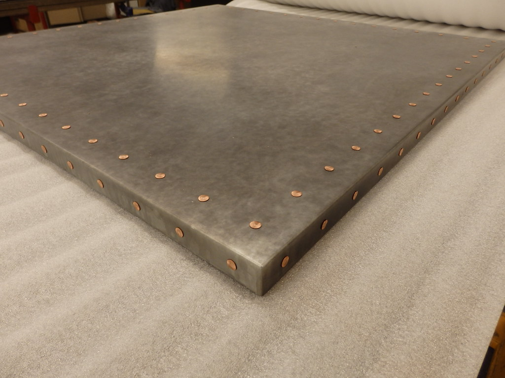 Delightful ... 185   Light Patina Zinc Table Top With Copper Rivets | By Metal Sheets  Limited