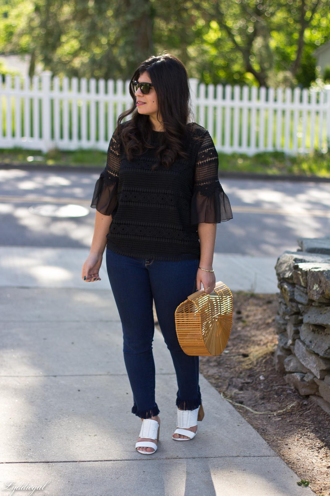 lace bell sleeve blouse, fringe hem jeans, bamboo bag.jpg