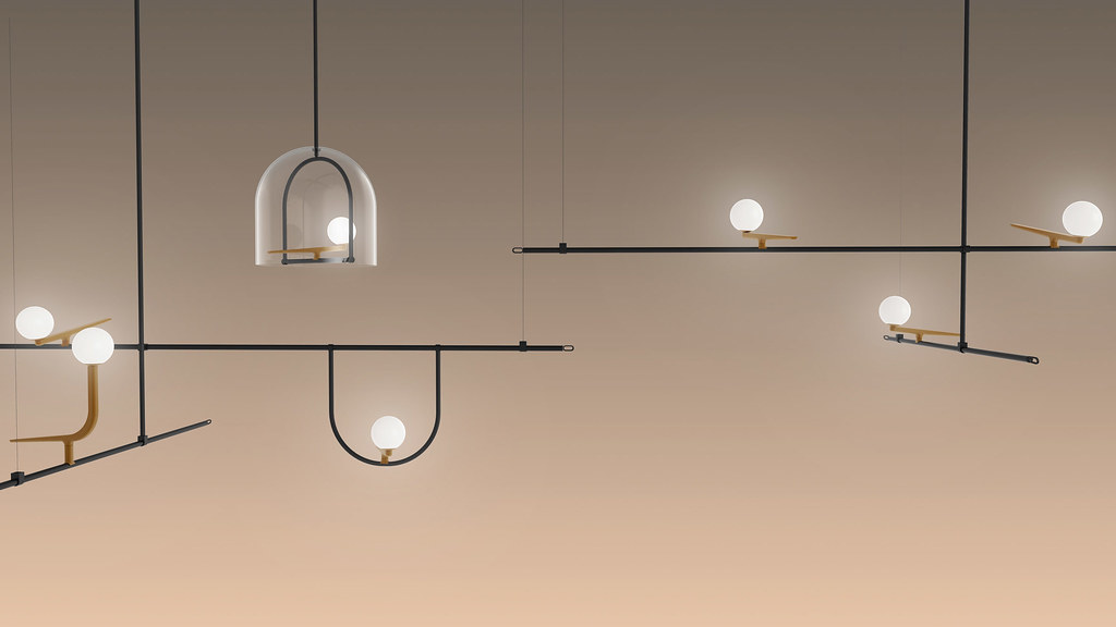 Lamp collection for Artemide that recalls the shapes of birds poised on wires and branches Sundeno_01