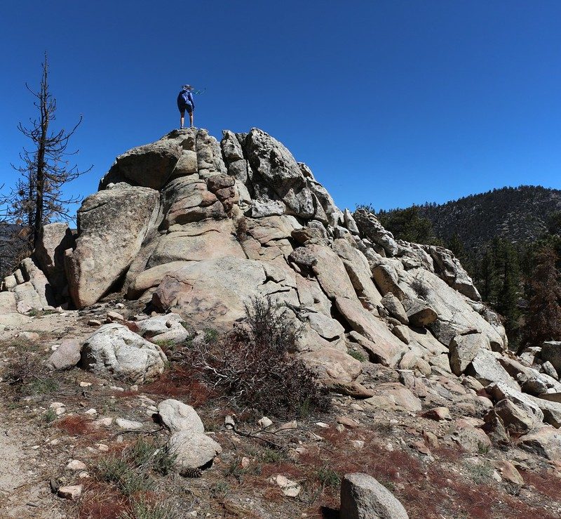 Vicki climbs up on a rocky crag to survey the burnt zone from the Lake Fire