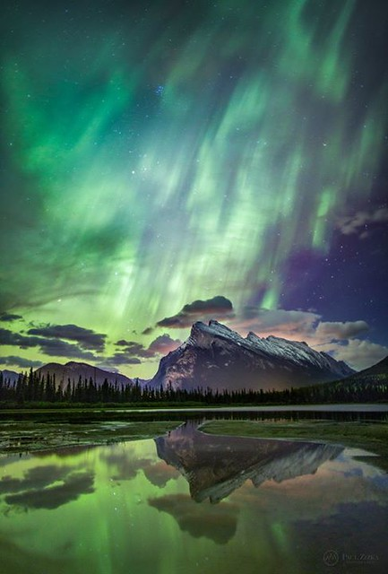 Here in Banff National Park we rarely get the big northern lights displays they get at the high latitudes. If you're patient though, once in a while you'll get to shoot the aurora over some of the most stunning landscapes on the planet! Aurora borealis ov
