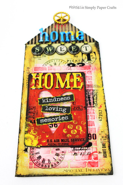 Meihsia Liu Simply Paper Crafts Mixed Media Tag Sweet Home Simon Says Stamp Tim Holtz