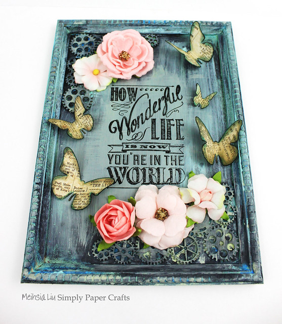 Meihsia Liu Simply Paper Crafts Mixed Media Frame Simon Says Stamp Monday Challenge Tim Holtz Prima Flowers