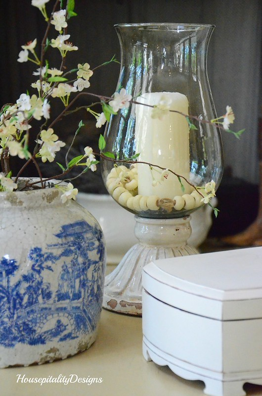 Table vignette-Chinoiserie-Leah Hurricane-Pottery Barn-Housepitality Designs