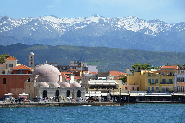 Mosque, Chania from the harbour wall, Crete
